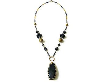 Art Deco Necklace, Czech Glass, Black Glass, Czech Necklace, Czechoslovakia, Jet Black Glass, Gold Tone Beads, Art Deco Jewelry
