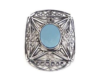 Sterling Israel Chalcedony Brooch Pendant - Sterling Silver, Blue Chalcedony, 925 Silver, Filigree Metal, Vintage Brooch, Israel Jewelry