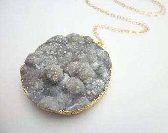 Natural Druzy Stone Necklace -- Grey Gem Necklace -- Natural Druzy Gem Necklace -- Large Druzy Necklace -- Large Moon Pendant Necklace