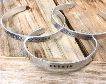 Hand Hammered and Stamped 1/4 Inch Aluminum Cuff Bracelets (Sans Serif Font)