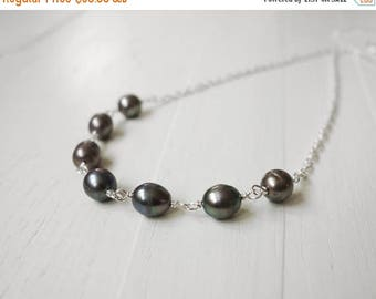 Summer Sale Grey pearl necklace peacock pearls necklace minimalist chain necklace freshwater pearls necklace gift for women