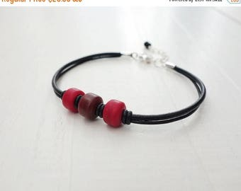 Summer Sale Black leather bracelet brown red beads leather cuff bracelet unisex bracelet for men for women