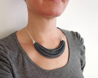 Gray statement necklace metallic grey bib necklace stylish statement bib necklace for women