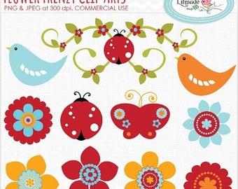 50%OFF Flowers clip art, birds clip art, butterfly clip art, ladybug clip art, spring clip art, nature clip art, commercial use clipart