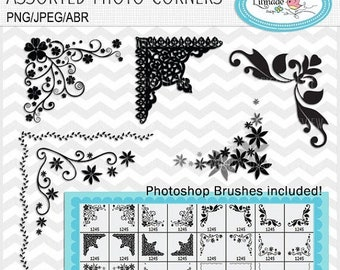 50%OFF Vintage Corner flourishes clip arts, vintage frames corners Photoshop brushes, Custom shapes, Photoshop overlay B26