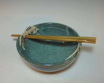 Blue Green Noodle Rice Salad Grain Bowl with Fish and Chop Sticks - Serving Bowl- Handmade - In Stock