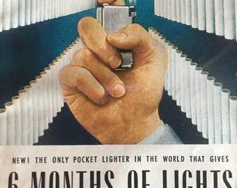 1951 Parker flaminare pocket lighter ad 5 1/2 x 7 1/2.