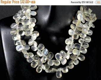 ON SALE Ceylon Moonstone Beads Faceted Pear Briolettes Flat Teardrop Blue Flash Earth Mined Gem - 9x5 to 10x7mm - Choose Number of Beads