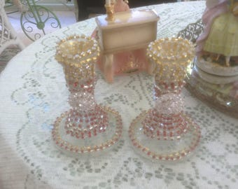 Red and clear rhinestone studded candle holder with clear jewels, set of 2