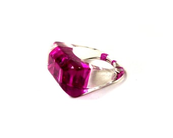 Chunky Vintage Striped Purple & Clear Lucite Ring MOD Size 9