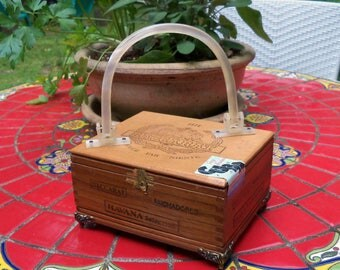 Vintage Cigar Box Purse with Marbled Lucite Handles //Dove Tail Corners // 1871 Baccarat Wood Cigar Box
