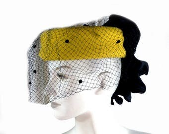 Vintage Sonni San Francisco Yellow Felted Wool Hat with Flocked Veil and Ruffles