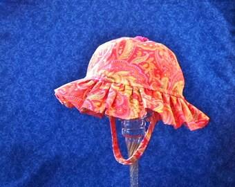Baby Girl Sun Hat Orange, Pink, Chin Straps with Snaps