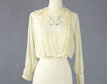 1920s Embroidered Silk Blouse, 20s Top, Bohemian Blouse, Cream Peasant Top