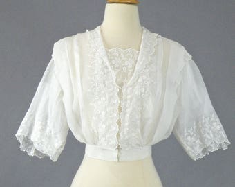 Antique Edwardian Blouse, Edwardian White Top, Embroidered Eyelet Blouse, Romantic Boho Top