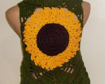Sunflower, Festival Clothing Women Vest, Burning Man Clothing, Green Festival Outfit, Music Festival, Gypsy, Hippie