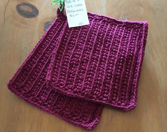 Pot Holders Burgandy Red Crochet Set of 2 100% Cotton 2 Strands of Yarn Eco Friendly Large 8 x 8