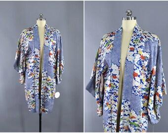 Vintage Silk Kimono Jacket / Kimono Cardigan / Vintage Haori Jacket / Short Kimono Robe / Silk Kimono Robe / Blue & White Floral