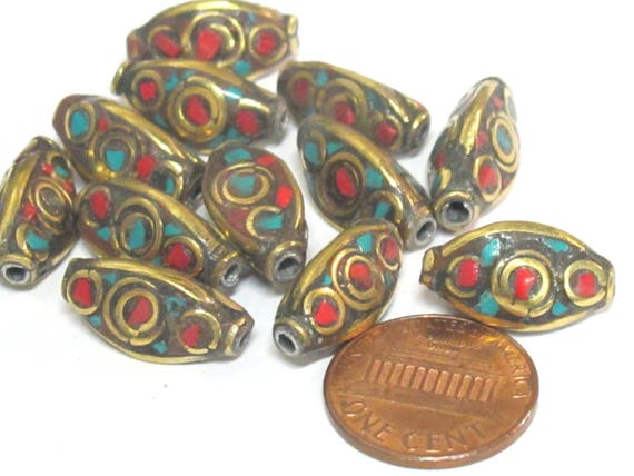 1 Bead - Beautiful Ethnic nepal brass bead with turquoise coral inlay - BD951z