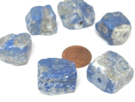 1 Bead - Raw rough lapis nugget free form drilled gemstone beads  18 mm to  22 mm - GM438A