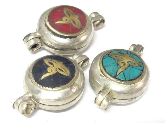 3 Pendants set - Tibetan silver Lapis  turquoise  coral inlaid Ghau prayer box buddha eye symbol pendant - PM571B