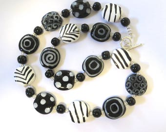 Black and White Beaded Necklace, Ceramic Jewelry, Kazuri Bead Necklace, Statement Necklace