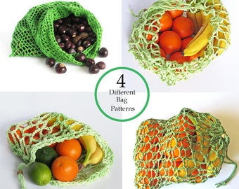 CROCHET PATTERN Mesh Produce Bags / Eco Friendly / Zero Waste / Plastic Free / Market Bags / Green Living / Set of 4