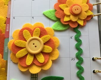 Felt Flower Shapes-DIY Flower Kits-Mothers Day Crafts- Flower Bookmark Kits-Felt Quiet Books-Bible Journal-Planners-Quilting-Card Making