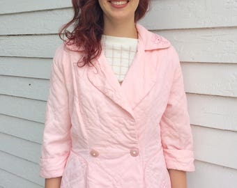 Pink Bed Jacket Vintage 50s Peplum New Look 1950s Pale Quilted M L