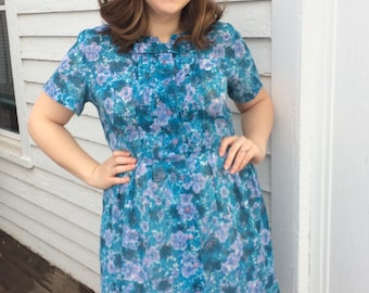 Sheer Print Dress 50s Blue Floral Carol Brent XL Vintage 42 Bust AS IS