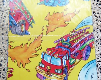 Vintage Wrapping Gift Paper Sealed Fire Trucks Truck Firetruck Children Fire Hose Scrapbooking
