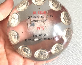 Vintage Dimes in Lucite Paperweight