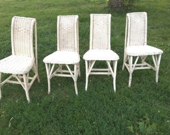 Set of Four Vintage Wicker Chairs