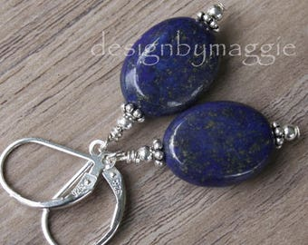 Lapis Lazuli Earrings Gemstone Stone Handmade Sterling Silver Leverback Very Deep Dark Blue Oval Beads