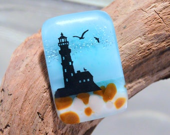 Fused Dichroic Glass Cabochon...ROCKY BEACH LIGHTHOUSE...Cab for Jewelry Designers