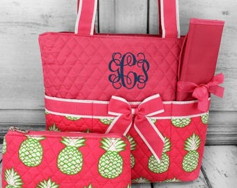 Monogrammed Quilted Diaper Bag Pineapple