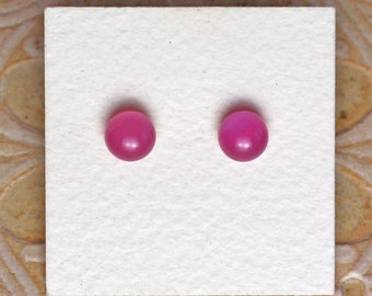 Fused Glass Earrings, Petite, Plum DGE-1157