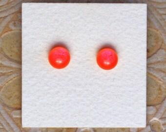 Dichroic Glass Earrings, Petite, Orange Violet DGE-1173