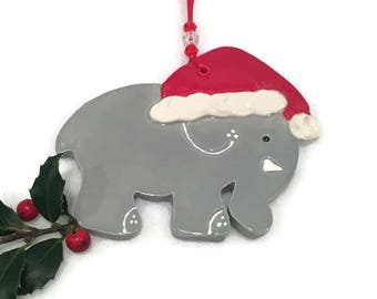 Christmas Elephant Ornament - Hand Crafted