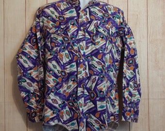 Vintage Purple Print Country Western Rockabilly Shirt Mens Wrangler Mens M
