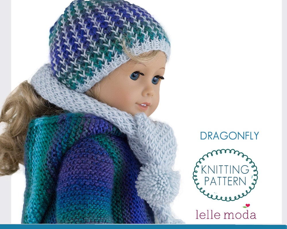 Knitting Pattern Winter Hat and Scarf fits American Girl