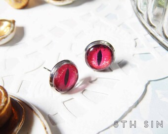 Antique Silver and Red Dragon Eye Stud Earrings, Red Dragon Eye Earrings, Silver Dragon Eye Earrings, Ruby Dragon Eye Earrings, Dragon Studs