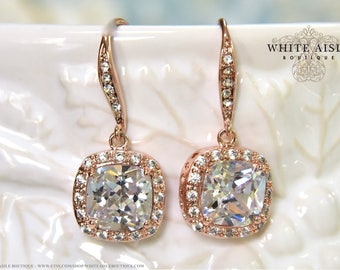 Rose Gold Cushion Cut Cubic Zirconia Bridal Earrings Bridesmaid Gift Vintage Inspired Crystal Earrings With Personalized Keepsake Box