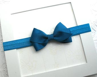 Simple Baby Bow Headband, Baby Headband with Bow, Teal Hair Bow Headband, Thanksgiving Headband