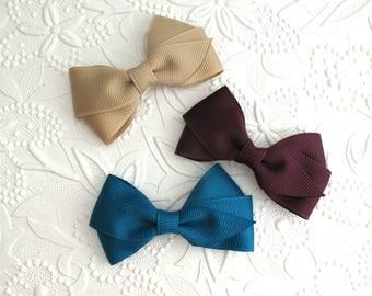 "Fall Hair Bows ~ Toddler Girl 3"" Simple Flat Style Hair Bows ~ Beige, Plum & Teal Hair Bows, School Uniform Colors"