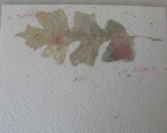 Vintage Original Signed Watercolor of Oak Leaf by Ron Wagner
