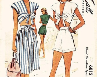 On Sale Vintage 1940s Playsuit Pattern - McCall 6812 - Misses' Three Piece Sports Ensemble - Waist, Skirt and Shorts - SZ 16/Bust 34