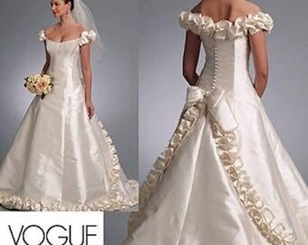 On Sale Sz 12/14/16 - Vogue Wedding Dress Pattern V1095 by BELLVILLE SASSOON - Misses' Off-the-Shoulder Embellished Gown with Train - Vogue