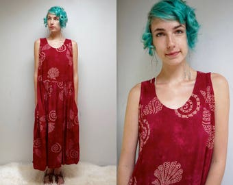 Batik SunDress  //  90s Maxi SunDress  //  Maroon Rayon Dress  //  LADY SEASIDE