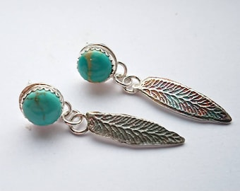 Sterling silver handmade kingman turquoise earrings with oxidised leaf drops, hallmarked in Edinburgh